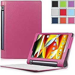 Yoga Tablet 3 8 Case - HOTCOOL Ultra Slim Lightweight Folio With Auto Sleep / Wake Feature Cover Case For 2015 Released Lenovo Yoga Tablet 3 8-Inch Tablet, Magenta