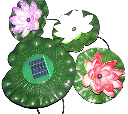 Crazy Genie Solar Powered Decorative Lotus Led Light Floating Flower Multicolor Changing Pool View Decoration Lamp Wishing Lotus Floating Pond Garden Pool Nightlight