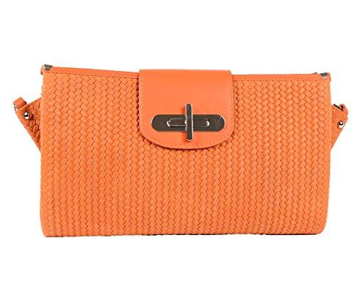 Designer-Italienische-Tasche-Leder-Handbag-geflochtene-Look-Echtledertasche-Handtasche-Schultertasche-Clutch-Umhngetasche-Borsetta-Pochette-Orange-Gelb-Apricot