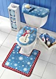 Collections Etc - Snowman Toilet Seat Cover And Rug Set