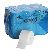 "Georgia-Pacific Compact 193-74 4.05"" Length, 3.85"" Width, 5.75"" Roll Diameter Coreless High Capacity 1-Ply Bathroom Tissue (Roll of 18)"