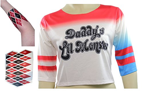Harley Quinn Daddy's Lil Monster Shirt Costume with Arm Tattoo
