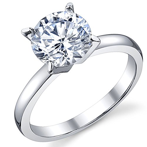 2 Carat Round Brilliant Cubic Zirconia CZ Sterling Silver 925 Wedding Engagement Ring Size 5