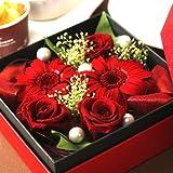 ホワイトデーお返し 花とセット プリザーブドフラワーとスイーツセット 赤色BOX ランキングお取り寄せ