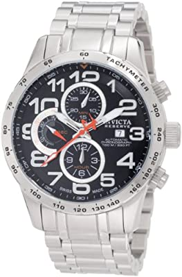 Invicta Men's 0591 Reserve Automatic Chronograph Black Dial Stainless Steel Watch
