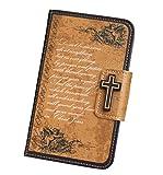 ( UN ANANAS )十字架 天使 英語 キリスト カード入れ 手帳 iPhone6S iPhone5S カバー 携帯 ケース 女性(ブラウンiPhone6S)