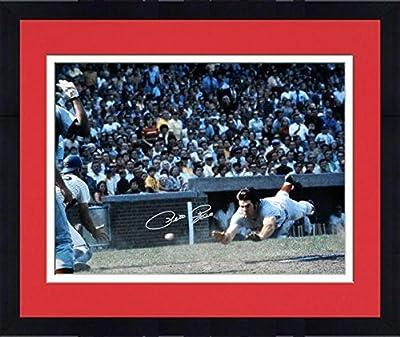 "Framed Pete Rose Cincinnati Reds Autographed 16"" x 20"" Silver Ink Head First Slide Photograph - Fanatics Authentic Certified"