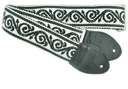 Souldier Gs0257Bk02Bk Custom Usa Handmade Scroll Guitar Strap - Black/White