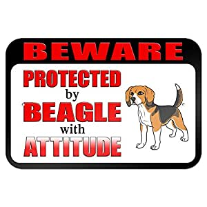 """Amazon.com : Beware Protected by Beagle with Attitude 9"""" x 6"""" Metal"""