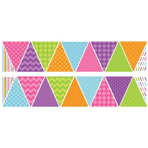 RoomMates RMK2437SCS Patterned Pennants Peel and Stick Wall Decals, 1-Pack - 1