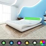 vidaXL Kunstlederbett geschwungenes Bett 140x200cm weiß + Matratze LED-Leiste