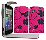 Cellmax HTC Sensation G14 Protection Case Cover Skin Pouch With Solid Build In Phone Holder Housing Pink Floral Flower Pattern + Quality LCD Screen Scratch Protector + Free Microfibre Cleaning Cloth