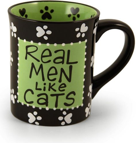 Real Men Like Cats Coffee Mug Green Black Paw Prints