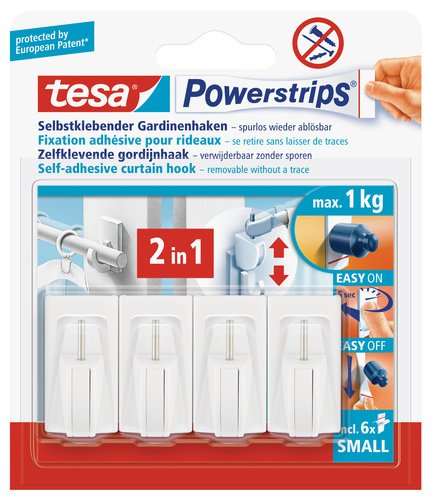 tesa 58034 Net Curtain Hooks White with Self Adhesive and Removable Powerstrips (4 Hooks)