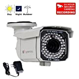 "VideoSecu Outdoor 700TVL Day Night Security Camera Built-in 1/3"" SONY Exview CCD II EFFIO-E DSP 65 IR Leds 4-9mm 3X Zoom Lens for CCTV DVR Home Surveillance with Power Supply and Security Warning Sticker CJZ ~ VideoSecu"