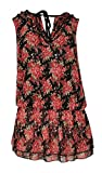 Women's Ladies Rose Print Sleeveless Tie Up Open V-neck Gathered Waist Chiffon Lined Top...