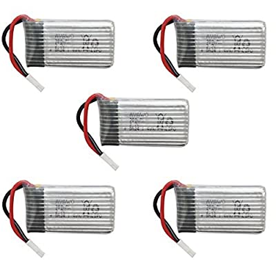 AVAWO for Hubsan Original 5pcs 3.7V 380mAh LiPO Battery for Hubsan X4 H107C H107D H107L RC QuadCopter + Velcro cable ties