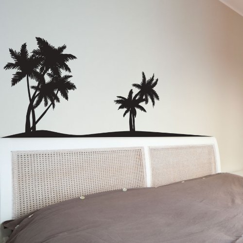 Palm tree headboard wall art decal wall for Palm tree decorations for the home