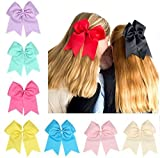 Jmkcoz 10pcs Hair Clips Large Cheer Bows Hair Ties Fashion Headbands Ponytail Holder 7.5