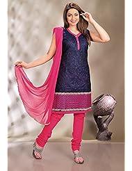 Utsav Fashion Women's Deep Blue Art Silk Readymade Churidar Kameez-Medium