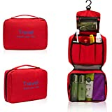 Foxnovo Portable Multi-function Waterproof Hanging Wash Bag Toiletry Bag Travel Cosmetic Bag Pouch Organizer (Red)