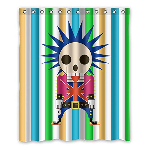 """Stile del fumetto Progettazione di Avantgarde Cranio testa soldati del Regno Unito Colore di sfondo è le strisce verticali di colore Disegno 100% poliestere tessuti impermeabile bagno Shower Curtain 60""""x72"""" (150cm x 183cm)"""