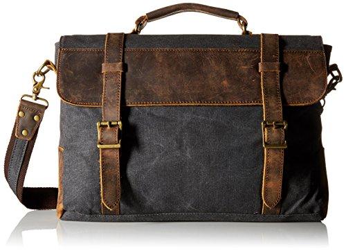 S-ZONE Mens Vintage Canvas Leather Messenger Bag