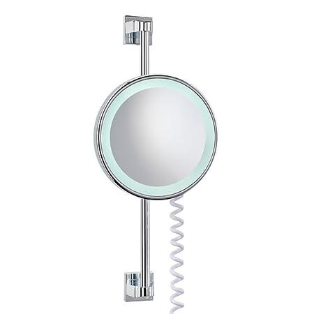 Nie wieder bohren, Specchio da trucco con illuminazione, ingrandimento 5x, diametro 20 cm, Argento (Silber)