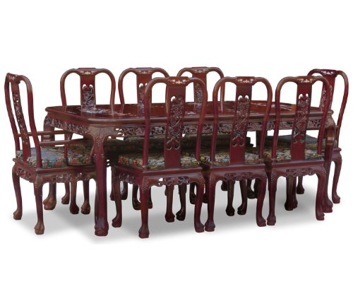 "80"" Rosewood Dining Table with 8 Chairs - Queen Anne Grape Design"