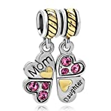 Silver Plated Pugster Mother Daughter Heart Love Butterfly Charm Fits Pandora Bead Bracelet