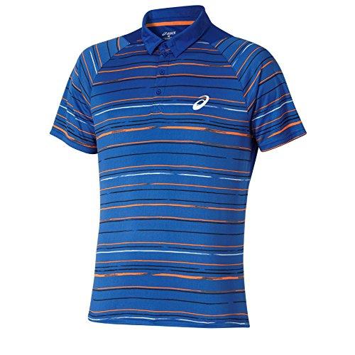 Asics Graphic a maniche corte Polo da uomo Club abbigliamento donna, Uomo, Oberbekleidung Club Graphic Shortsleeve Polo, blu, L