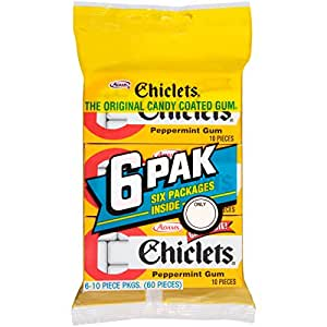 Chiclets Gum, Peppermint 6-Packs, 60-Count (Pack of 14)