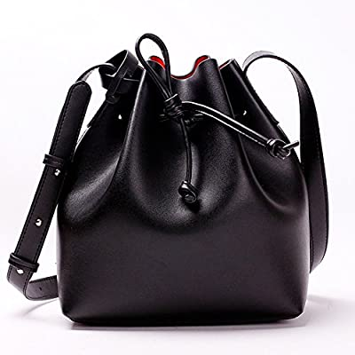 Actlure Genuine Leather Shoulder Crossbody Drawstring Bucket Purse Bag