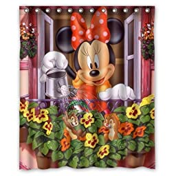 ARTSWOW Custom Waterproof Polyester Fabric Cute Disney Cartoon Mickey Minnie Mouse Shower Curtain Standard Size 60x72