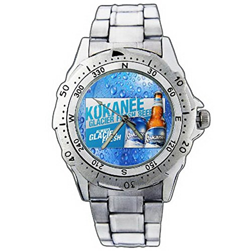 xze01-1153-kokanee-glacier-fresh-beer-can-bottle-stainless-steel-wrist-watch