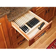 Rev-A-Shelf 4WKB-1 Trimmable Knife Block Insert with Divider - Wood - Maple