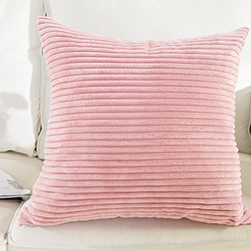 Brilliant Supersoft Striped Velvet Corduroy Decorative Throw Pillowcase Cushion Cover for Baby