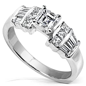 7/8 Carat TW Asscher & Baguette Diamond Engagement Ring in 14k White Gold
