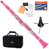 Mendini MCT-PK+SD+PB Pink ABS B Flat Clarinet with Case, Stand, Pocketbook, Mouthpiece, 10 Reeds and More