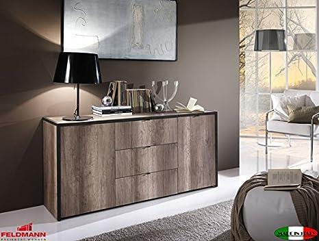 Sideboard Kommode Anrichte 2-turig 555008 eiche san remo / anthrazit Beton-Optik mit Schubkästen