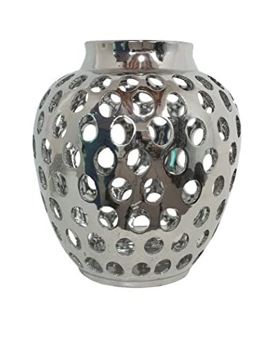 Three Hands Ceramic Cutout Vase, Silver