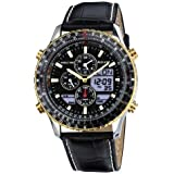 Accurist Men's Quartz Watch with Black Dial Analogue - Digital Display and Black Leather Strap MS1031B