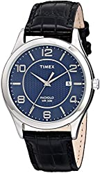 Timex Men's T2P4519J Main Street Dress Watch With Black Leather Band