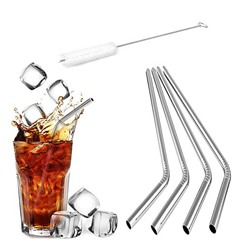 GFDesign Stainless Steel Drinking Straws Bend Straws Food-Grade Reusable and Durable - Set of 4 with Cleaning Brush (Extra Long Muddler compare prices)