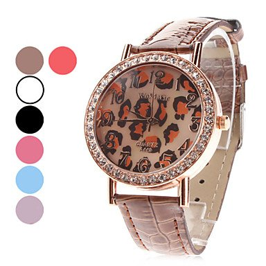 M.M.Women'S Leopard Print Dial Pu Band Quartz Analog Wrist Watch (Assorted Colors)