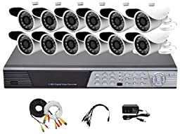 iPower Security SCCMBO0010-1T 16-Channel 1TB Hard Disk Full D1 DVR Security Surveillance System with 12 850TVL Cameras - Bullet (Grey/Black)