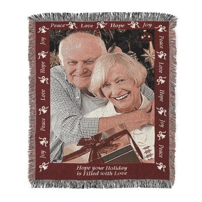 Personalized Christmas Photo Throw Blanket With Bell Border Pattern And Embroidery front-231883