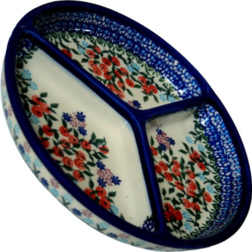 Polish Pottery Ceramika Boleslawiec 0727/282 Royal Blue Patterns Mercedes Divided Platter, 10-3/4-Inch Diameter, Red Berries And Daisies front-612857