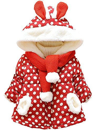 LaLaMa Baby Girls Dot Rabbit Infant Winter Hoodies Jacket Coat with Scarf 0M-3Y
