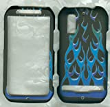 Motorola Electrify, Photon 4g Mb855 Case Cover Phone Snap on Cover Case Faceplates Blue Fire Flames